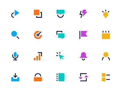 Geometric Icon Set website tech bold line icons lineart line modern icon set icons icon brand branding illustration