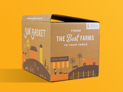 Sun Basket Packaging typography box package packagedesign packaging meal delivery food farm modern brand brand identity branding