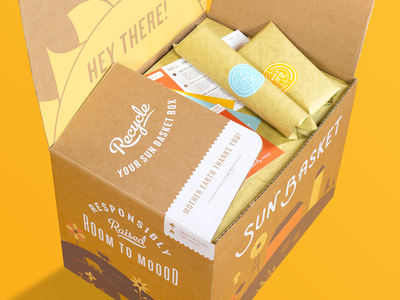 Sun Basket Unboxing Experience box food packaging illustration design type typography brand brand identity branding