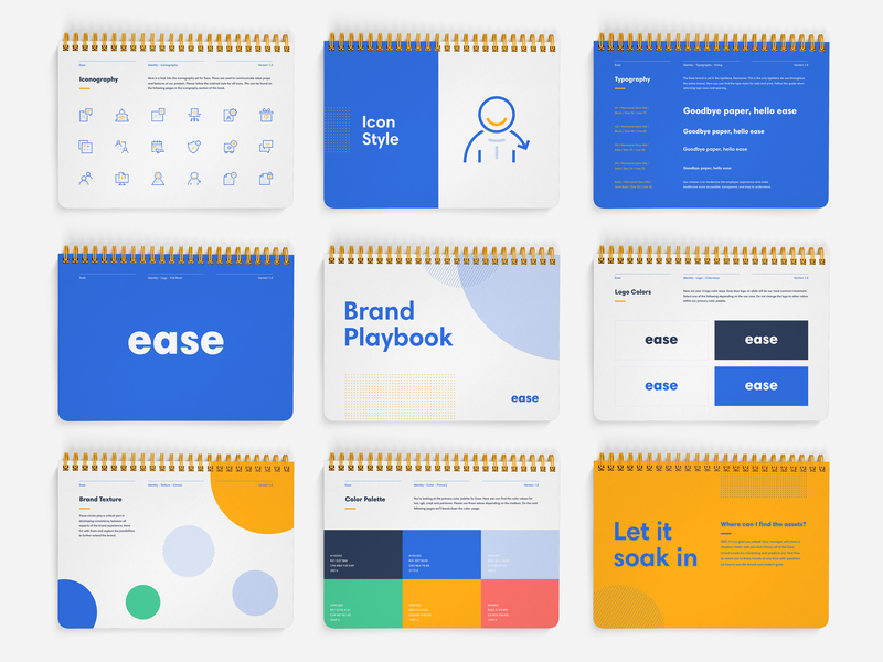Ease Brand Book health insurance broker b2b booklet brand guidelines brand agency brand guide print typography brand brand identity branding illustration