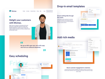 Mixmax Roles product mockups email website landing page brand brand identity branding illustration