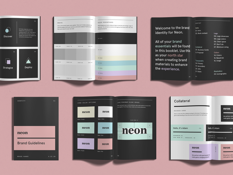 Neon Brand Guide typography logo brand guidelines brand guide booklet book brand brand identity branding