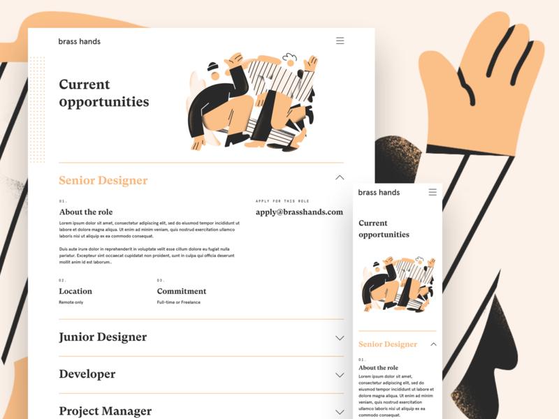 Brass Hands - Jobs design agency design studio brand designer modern type website landing page typography icon brand brand identity branding illustration