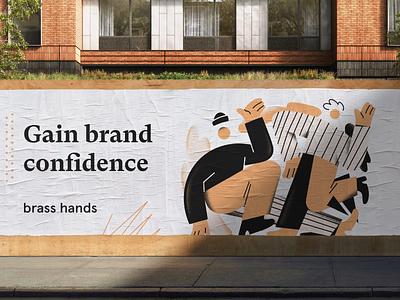 Gain brand confidence brand identity mural modern ad illustrator illustration logo mark logo design brand design brand designer design studio brass hands