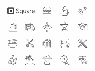 Square Icons icon design brass hands modern icons line lineart line icons iconography app square icon set icon brand brand identity branding illustration