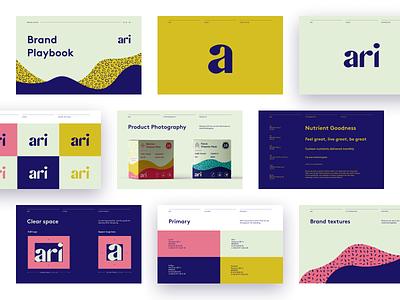 Ari Brand Book branding agency brand designer brand guidelines brand guide brand book colors logo custom type label packaging illustration brand brand identity branding