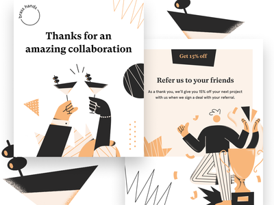Referral Program cheers drinks characters illustrations modern website landing page typography brand branding brand identity illustration email campaign email design email