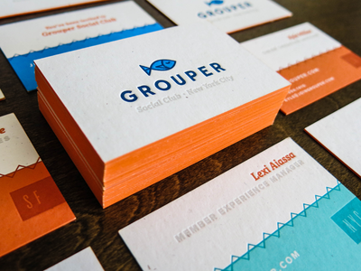 Grouper Business Card - Shot 2 edge painting business cards new york city grouper business card mamas sauce la letterpress printing start up french paper drinks business cards sf nyc dating social club