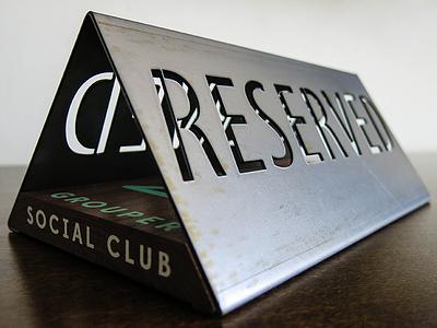 Grouper Reserved Sign custom die cut walnut grouper social club reserved sign metal grouper