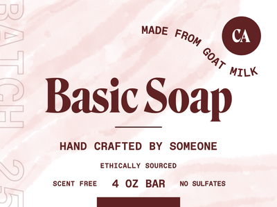 Basic Soap handmade california textures paper packaging label identity brand and identity soap product label packaging typography brand brand identity branding illustration