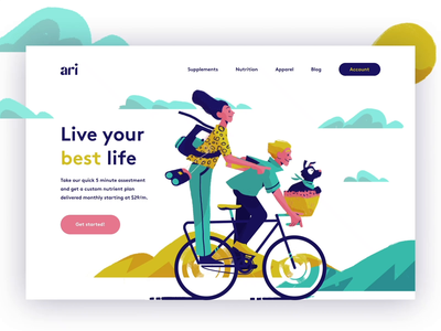 Ari consumer subscription brand agency branding studio illustrator procreate texture lifestyle illustration lifestyle animated animation modern website landing page logo typography brand brand identity branding illustration