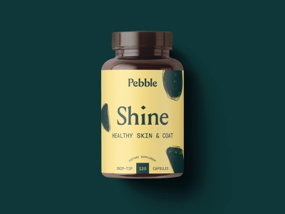 Pebble - Shine supplements direct to consumer b2c consumer modern texture logo bottle packaging design label packaging pet typography brand brand identity branding illustration