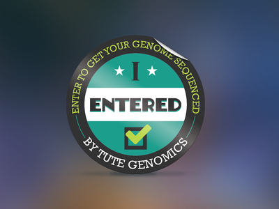 Genomics Sticker blur background sticker conference giveaway teal glossy enter contest circle fold