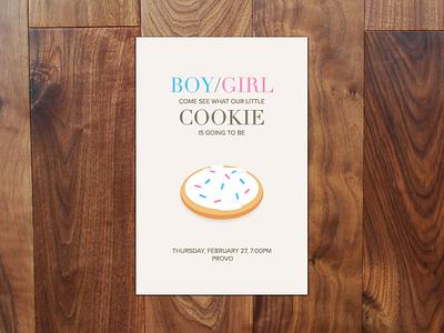 Gender Reveal Invite gender reveal cookie boy girl baby blue pink