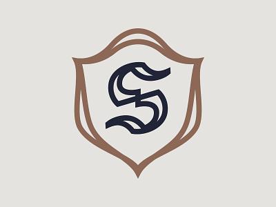 S Shield blackletter linework monoline heraldry shield
