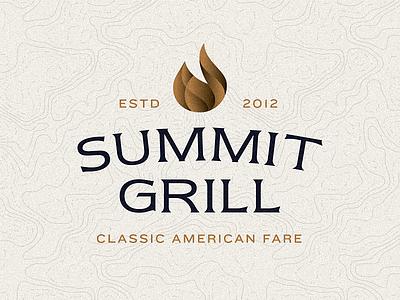 Summit Grill mountain fare serif gradient flame topography restaurant logo grill summit