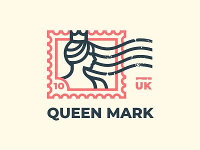 Queen mark royal hair crown queen postage stamp mark logo