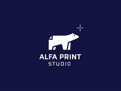 Alfa print studio paper printing bear branding logodesign logotype