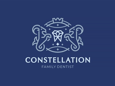 Сonstellation crown goat capricorn constellation family dentist dentist teeth line art graphicdesign logomark logodesign branding logotype logo