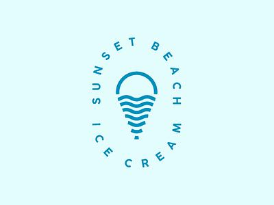 Sunset beach ice cream beach sea sun sunset ice cream design graphicdesign logomark logodesign branding logotype logo