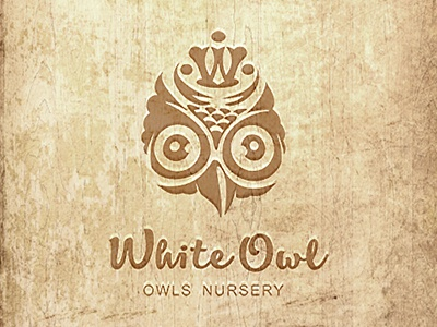 White Owl w monogram chicks crown nursery owl