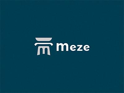 Meze logo leter m dish doric plate column
