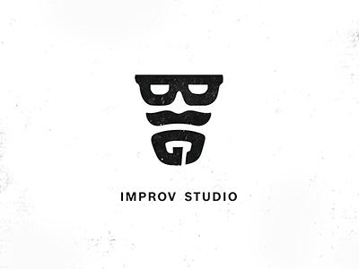 BIG update logoidea logomark logo logotype branding graphicdesign mask show mustache letters impersonation improvisation glasses beard man