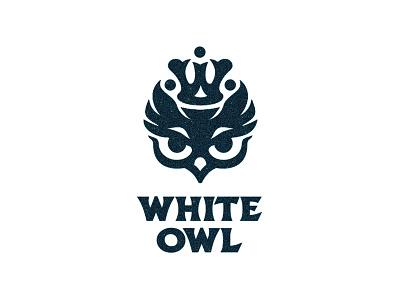 White owl night nest monogram mother queen crown chicks birds owl logotype logo