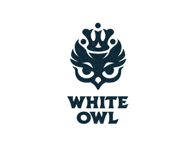 White owl night nest monogram mother queen crown chicks birds owl logotype logo