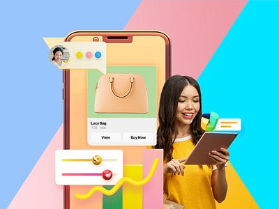 Messenger Shopping shopping cart conversation chatbot messages promotions landing page design ui hochiminh hcm