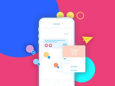 Illustration for Automation Sale & Marketing shopping messenger chat art hcm hochiminh design illustration