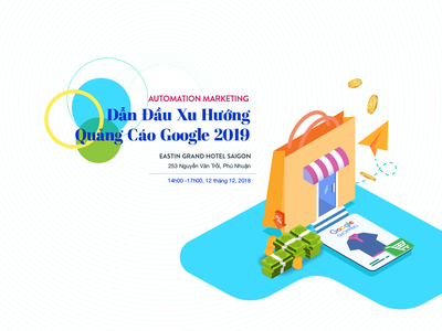 landing page for event with google shopping marketing automaton website event promotions illustration design hochiminh hcm web landing page ui