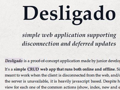 Desligado website documentation