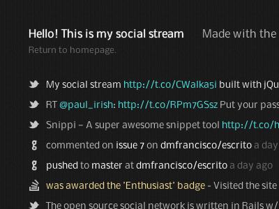 Social stream stream social