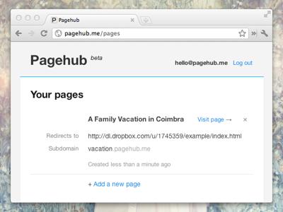 Pagehub.me ui website