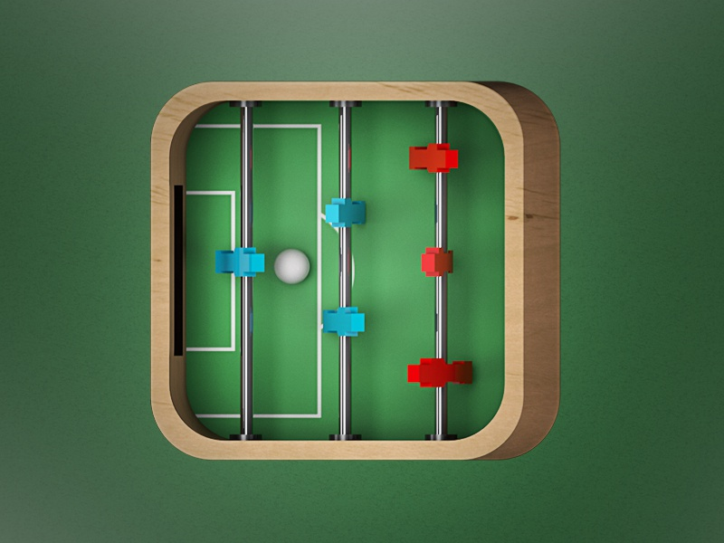 Foosball Icon Design foosball soccer toy game ball red blue 3d app icon