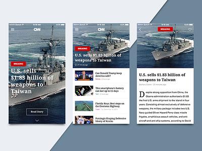 CNN News Reader tag news modern article typography mobile design minimal app ios