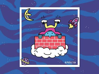Bambino Volante postcard poster illustration kids floating space artwork