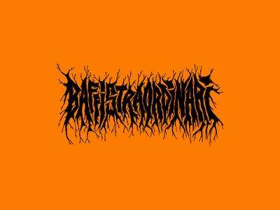 Baffistraordinari moustache type font graphic metal logo beard barber barber shop