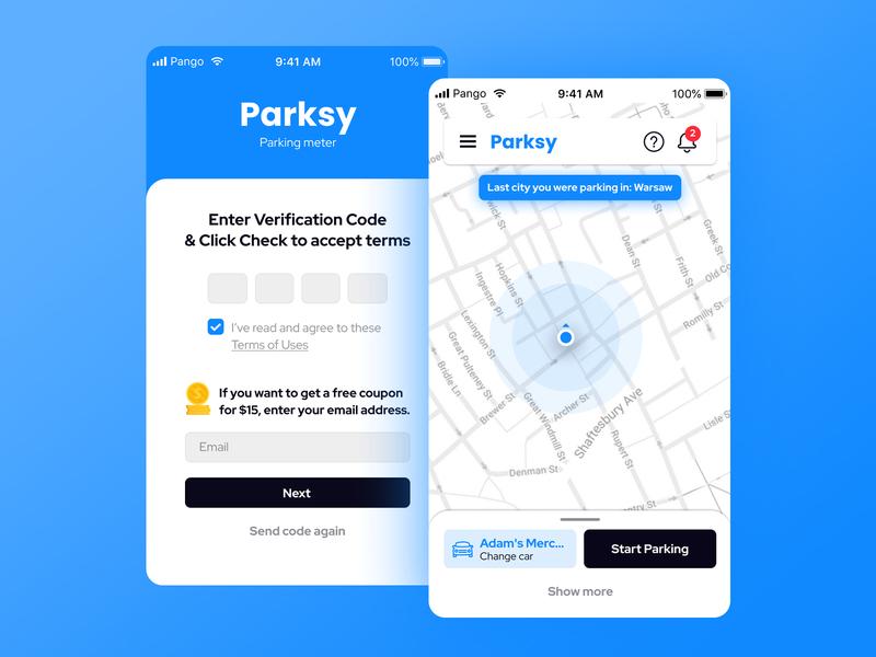 Parksy app app design freelance design app ui mobile