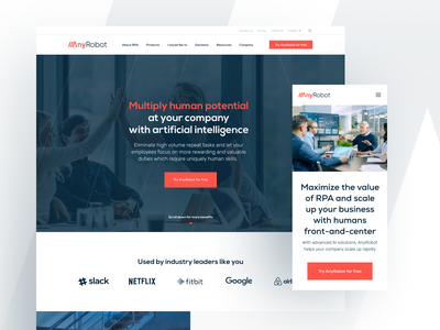 AnyRobot - Robotic Process Automation | Website Design ux ui freelance design digital branding saas website webdesign desktop rpa automation robotic robotic process automation