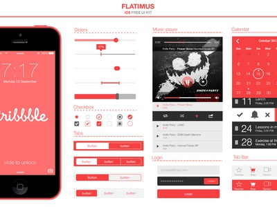 Flatimus iOS Free UI Kit free clean ios ux ui psd login music player calendar retina buttons flat design