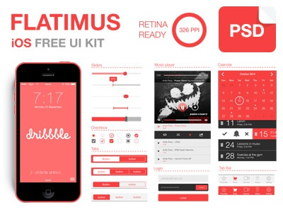 Flatimus iOS Free UI Kit free clean ios ux ui psd login music player calendar retina buttons flat design