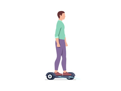 Man riding an Electric hoverboard