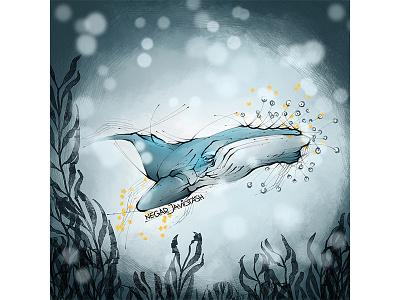 The Whale animal animal art hello artwork digital paint digital painting digital 2d ocean illustrator illustration