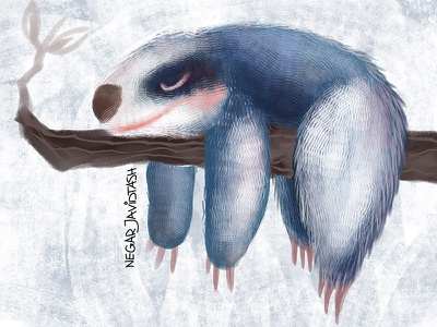 Sloths day digitalarts digitalpainting sloths digital 2d sleepy lazy sloth illustrator illustration