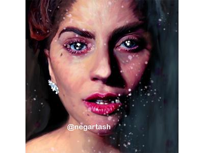Lady Gaga portrait digital artist digital art digital paint painting lady gaga face paint portait portrait painting illustraiton illustrator digital painting