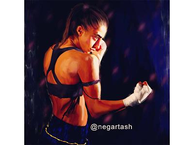 The portrait of the winner winner fighter girl illustration art illustration sport digital painting portrait painting portrait portrait art