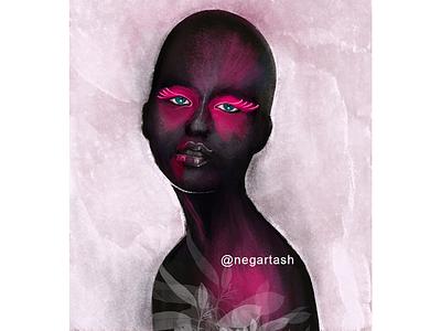Black Lady - 02 red art black digital art digital painting woman lady illustrator illustration portrait procreate brush procreate app procreate art procreate