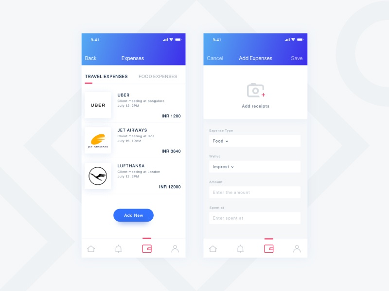 Expense Page mobileapp minimal cleanui interface